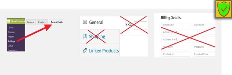 Remove tabs and fields from WooCommerce