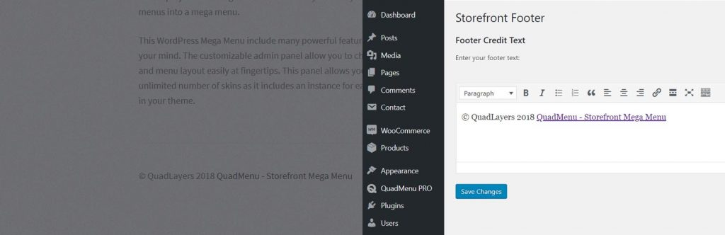 Change Storefront Footer Copyright Text