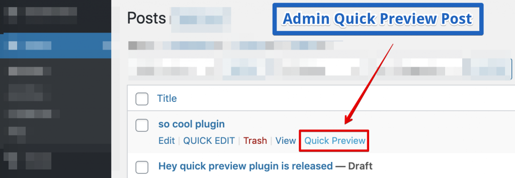 Admin Quick Preview Post