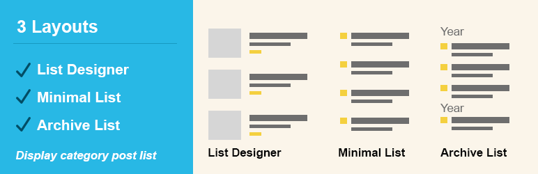 Post List Designer by Category