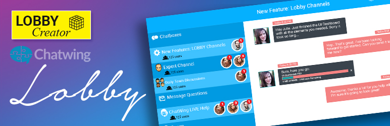 chatWING Lobby – Group Chat Rooms + 1 on 1 Live Chat