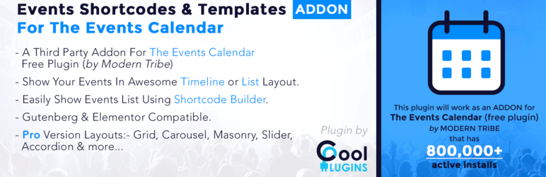 Events Shortcodes & Templates Addon For The Events Calendar