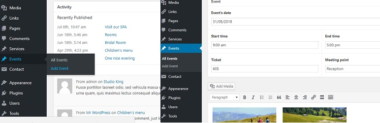 WDV – Add Services and Events | wdvillage | custom post types