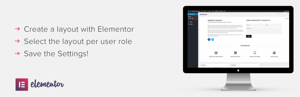 Dashboard Welcome for Elementor