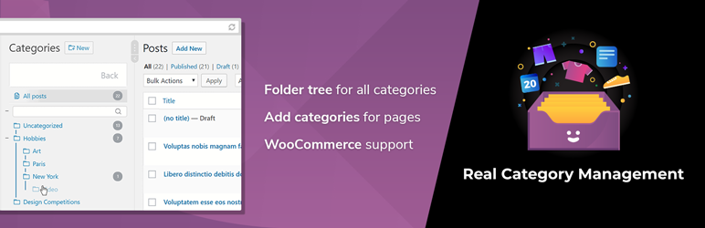 WordPress Real Category Management: Content Management in Category Folders with WooCommerce Support