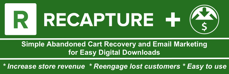 WordPress abandoned cart recovery and email marketing for Easy Digital Downloads by Recapture