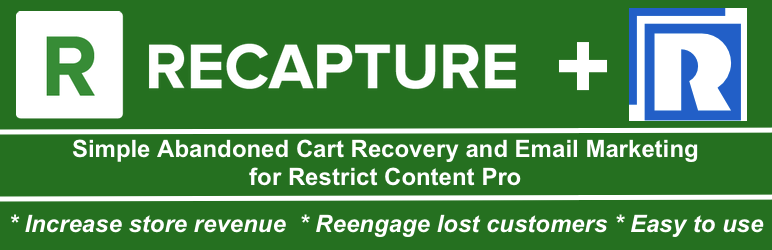 WordPress abandoned cart recovery and email marketing for Restrict Content Pro by Recapture