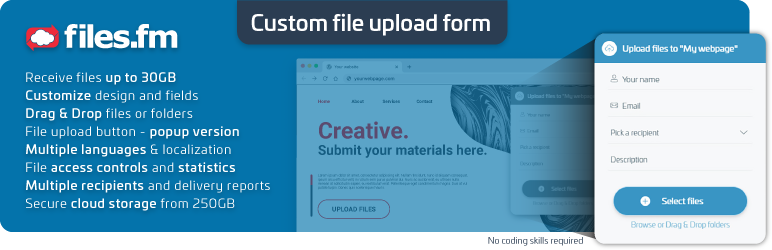 Customizable File Upload Form with Backend Cloud Storage | Files.fm | cloud