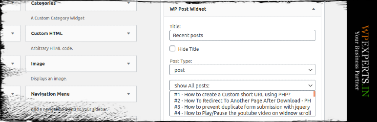 WP Post Widget | WP Experts Team | Post Widget