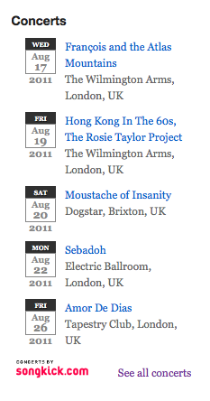 Songkick Concerts and Festivals