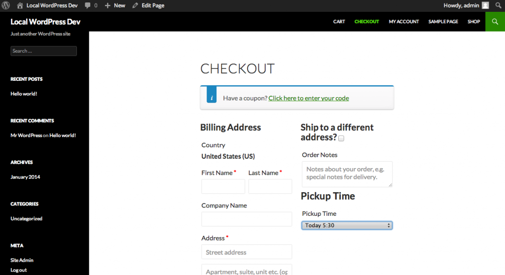WooCommerce Local Pickup Time Select