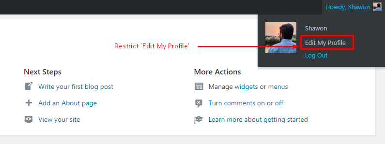 WP User Profile Restriction | Shawon | No label temporarily