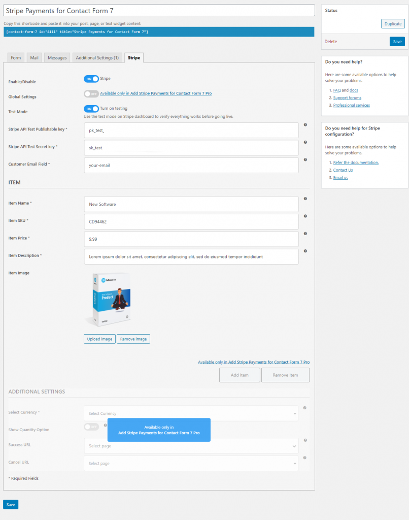 Add Stripe Payments for Contact Form 7 | Performa Technologies | contact form 7