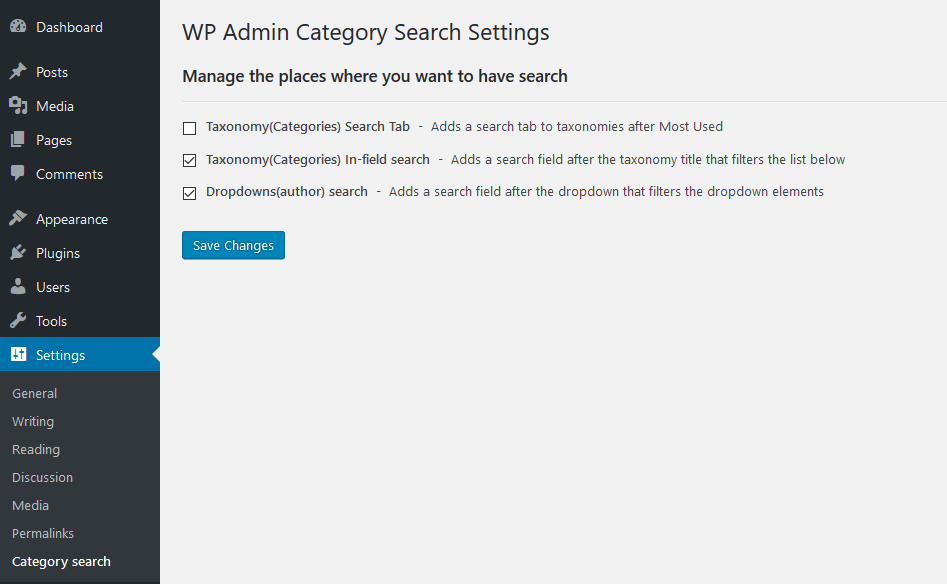 WP Admin Category Search