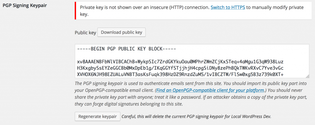 WP PGP Encrypted Emails