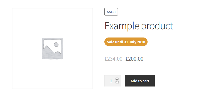 WooCommerce sale product date info